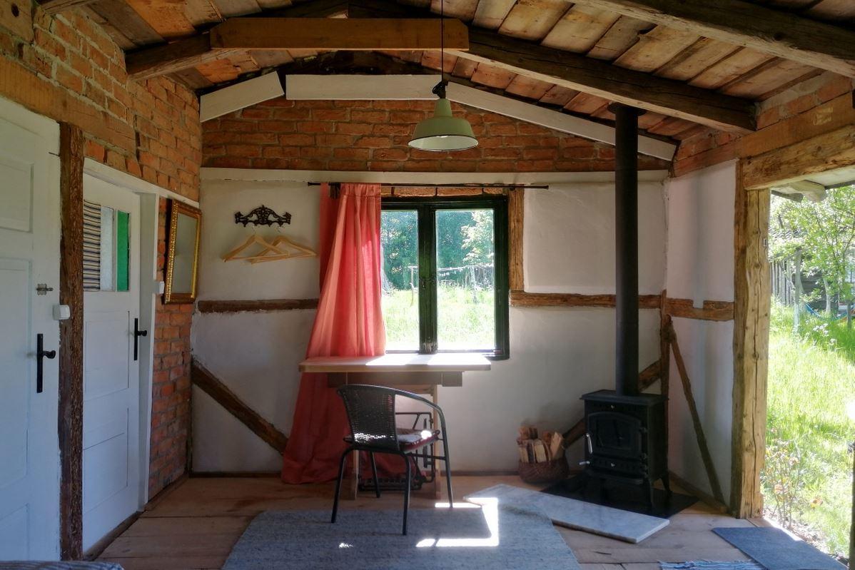 Summer cabin warmiak with a fireplace
