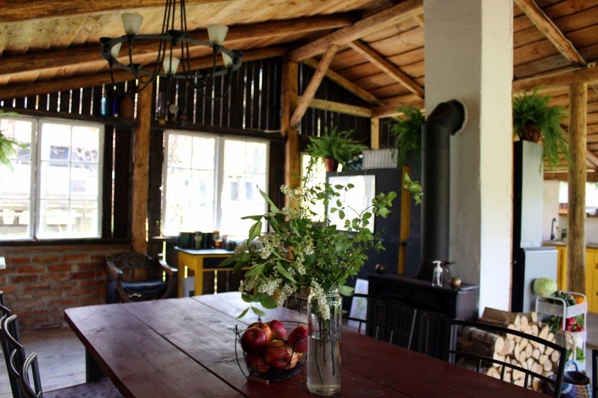 Summer kitchen interior with fireplace